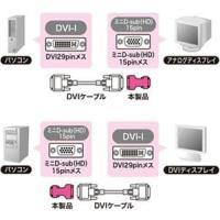 サンワサプライ DVI変換アダプタ DVI-I29pinオスコネクタ-ミニD-sub(HD)15pinオス AD-DV01K