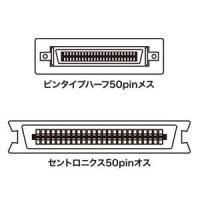 サンワサプライ SCSI変換アダプタ ピンタイプハーフ50pinメス-セントロニクス50pinオス AD-P50CK