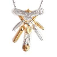 人気ブランドSBG(エスビージー)頭金イーグルフェザー5枚ネックレス。大きく羽を広げた特大イーグルト...