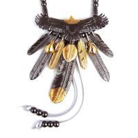 人気ブランドSBG(エスビージー)黒頭金イーグル&7枚フェザー本革紐ネックレス。独自の生産背...