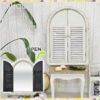 ●窓のようなデザインが可愛い扉付きミラー● 一見飾り窓のような可愛いデザインの、扉付きミラーです。裏...