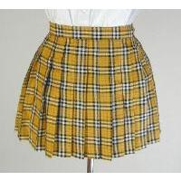 e7bb87149f1ea オリジナル黄×黒×赤チェックプリーツスカート