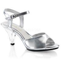 取寄せ靴 新品 ベルト付き 薄厚底サンダル 7.5cmクリアヒール クリア銀シルバーつや消し Ple...
