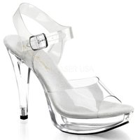 即納靴 新品 小悪魔系 ベルト付き 薄厚底サンダル 12.5cmクリアピンヒール クリア Pleas...