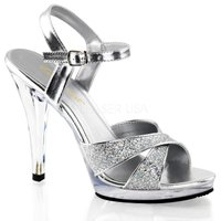 取寄せ靴 新品 ベルト付き きらきらラメ風 履きやすい薄厚底サンダル 11.5cmヒール 銀シルバー...