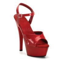 取寄せ靴 新品 衣装靴 ベルト付き 大人気厚底サンダル 15cmピンヒール 赤レッドエナメル FUN...