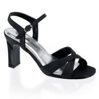 取寄せ靴 新品 クロスストラップ スクエアヒール 薄厚底 サンダル 8cmヒール 黒 ブラック サテ...