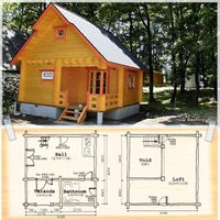ロフト付きモデル[BL-M5R]1F=14.6畳、2F=12.2畳。ロフト付きモデルなので、仮設住宅...