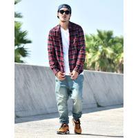 チェックシャツ メンズ ネルシャツ 長袖 ラウンドカット ストリート系 B系 メンズ ファッション