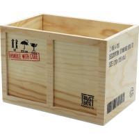 輸送の際に使用するウッドボックスをイメージした収納ボックス 擦れたようなプリントでサイズを記載 おし...