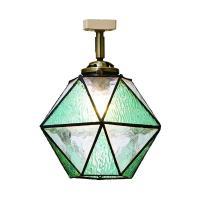 色:ブルー 電球無し ガラスを多角形に貼り合わせたステンドグラスのペンダントライト「maryse」シ...