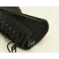 卒業袴 ブーツ 黒地 合皮タイプ 9ホール仕様 編み上げサイドファスナータイプ 22.5cmから26cm