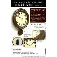 日本製 レトロ電波振り子柱時計 アンティークブラウン DQL669 昭和初期 時計 イメージ レトロ 電波 振り子時計 掛時計|dragon-bee|02