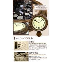日本製 レトロ電波振り子柱時計 アンティークブラウン DQL669 昭和初期 時計 イメージ レトロ 電波 振り子時計 掛時計|dragon-bee|03