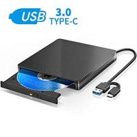 LESOOM USB3.0 Type C 外付け DVD ドライブ 薄型 Macbook ノートPC向け 書込 読込 二機能 DVD CD 外付け プレーヤー ポータブ