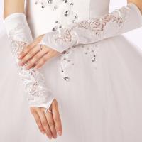 ウエディンググローブ フィンガーレス ロング サテン 刺繍 手袋 結婚式 ウエディング ブライダル 披露宴 花嫁 二次会