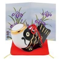 五月人形 コンパクト 陶器 小さい 鯉のぼり/ こいのぼり大 黒 (磁器) /こどもの日 端午の節句 初夏 お祝い 贈り物 プレゼント