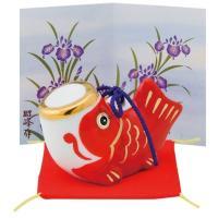 五月人形 コンパクト 陶器 小さい 鯉のぼり/ こいのぼり大 赤 (磁器) /こどもの日 端午の節句 初夏 お祝い 贈り物 プレゼント