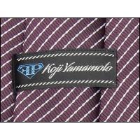 ネクタイ 日本製 メガネ拭き付 洗濯機OK 赤紫×白 ストライプ FP KOJI YAMAMOTO メール便OK