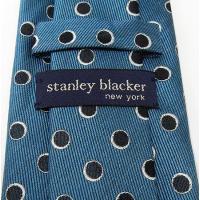 stanley blacker(スタンリー ブラッカー) ネクタイ 日本製 青 水玉 シルク100% メール便可 SBK-T34