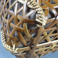 竹籠バッグ かごバッグ 網代編み 根曲り竹 煤竹 燻煙千島笹