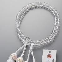 女性用の二連数珠です。切子カットが施されたクリスタル(水晶)で仕立てた大変人気の定番数珠です。年齢を...