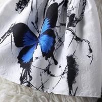 ミニワンピース(ホワイト蝶)Aラインシルエット