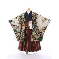 七五三レンタル 男児3才  3歳用の羽織袴セットをご用意しました!  羽織:グリーン系 鷹 扇 矢 ...