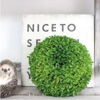 あかるいグリーンがかわいいボックスウッドリース♪ つやつやでボリュームのあるリースはそのまま壁やドア...