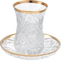 ☆トルコでは熱い紅茶をこれで☆ 美しいカットが魅力の耐熱性グラスとソーサーのセット。トルコではこれで...