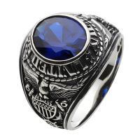 指輪 メンズ カレッジリング 人気 シルバーリング ブルー スピネル シルバー925|e-standard
