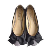靴 どんなスタイルにも、上品さをプラス。ブラック りぼん 付きぺたんこパンプス。 レディース 靴 ラ...