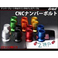 CNCナンバーボルト  アルミをCNC旋盤で削り出したCNCナンバーボルトです。  ナンバープレート...