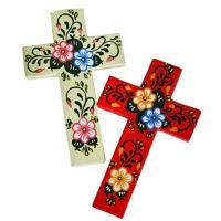 カラフルポップなフラワークロス♪ メキシコの伝統的なお祭り(死者の日)をモチーフにしたウッド製クロス...