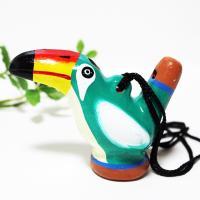 南米ペルーから来た、小鳥の音色を奏でる水笛です♪ カラフルなペイントを施した陶器製の可愛い水笛は、飾...