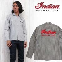 インディアンモーターサイクル Indian Motorcycle シャツ 長袖 ウエスタンシャツ ヒッコリー ストライプ im27379