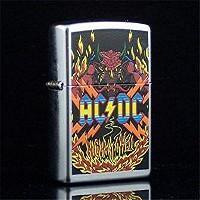 STREET CHROME仕上げのZIPPOライターにロックバンド AC/DC のアルバムHIGHW...