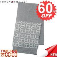 トミーヒルフィガー マフラー TOMMY HILFIGER  H8C4-1600 TH LOGO BORDER 40 SILVER  70%ACRYLIC 30%WOOL 比較対照価格 10,800 円