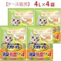 【4個セット】1週間消臭・抗菌デオトイレ 飛び散らない消臭・抗菌サンド 4L×4袋