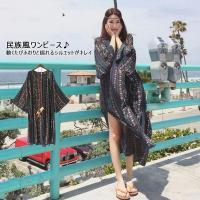 新品!フレア袖とボヘミア風柄デザインがポイントのビーチにピッタリワンピース♪送料無料