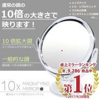 10倍鏡 通常の鏡の10倍の大きさで映る手鏡です。 細かなメイクや日々のスキンケアに最適!