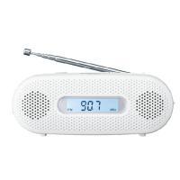 ワイドFM対応。持ち運びに便利でいざという時にも役立つ手回し充電ラジオ。