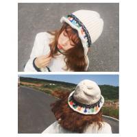 ニット帽子 レディース 韓国風 ふわふわ 小顔効果 ケーブル編み オシャレ フリンジ 華やか 可愛い 森ガール