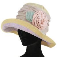 グレヴィ ハット つば広 GREVI 花飾り レディース 帽子 春夏 イタリア製 ハンドメイド ナチュラル
