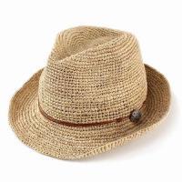 帽子 メンズ レディース レディス ハット 夏にオススメ!コンチョがかわいい柔らかラフィアの中折れハ...