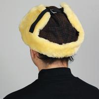 飛行帽 メンズ Woolrich フライトキャップ レディース 防寒 チェック柄 シープファー ファー帽子 ウールリッチ 帽子 トラッパー ブラウン