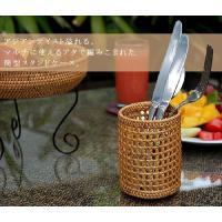 アジアン雑貨・バリ雑貨! アタで編まれた円柱形のカトラリースタンドはナイフやフォークを入れたりお箸を...