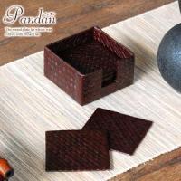 こちらのページは、パンダン編みスクエアコースター12枚セット(ブラウン)の販売ページです。アジアン雑...