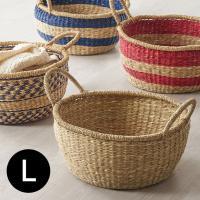 シーグラス(天然水草)をハンドメイドで丁寧に編みこんだザックリ感が魅力的なナチュラルバスケット。 コ...