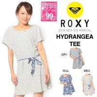 ROXY(ロキシー)ロング丈 半袖Tシャツ HYDRANGEA TEE 婦人・女性用  深いUネック...